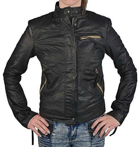 Wrangler Damen Lederjacke schwarz, Größe:M