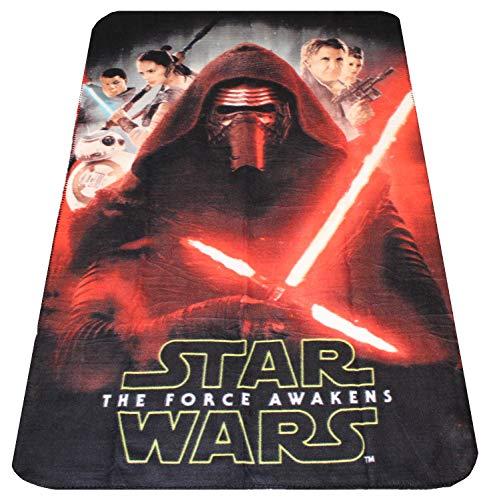 Disney Star Wars Fleecedecke The Force Awakens Kylo Ren, Han Solo, Leia Organa, Rey, Finn und BB-8, Öko Tex Standard 100, 100 x 150 cm, für Kinder
