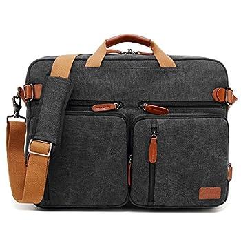 CoolBELL 15.6Inches Convertible Backpack Messenger Bag Shoulder bag Laptop Case Handbag Business Briefcase Multi-functional Travel Rucksack Fits 15.6 Inch Laptop For Men/Women  Cancas Black