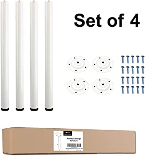 QLLY 28 inch Adjustable Tall Metal Desk Legs, Office Table Furniture Leg Set, Set of 4 (White)
