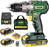 "TECCPO Cordless Drill Set, 20V Brushless Drill Driver Kit, 2x 2.0Ah Li-ion Batteries, 530 In-lbs Torque, 1/2""Keyless..."