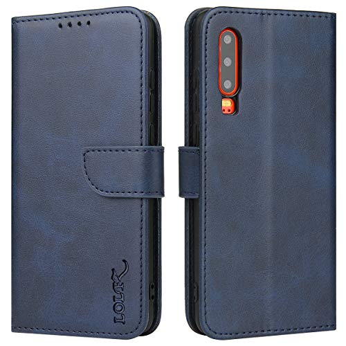 LOLFZ Hülle für Huawei P20, Premium Lederhülle mit Kartenfach Ständer Magnetische Flip Handyhülle für Huawei P20 - Blau