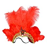 Famvos Carnival Feather Headpiece Showgirl Headband, Red, One Size