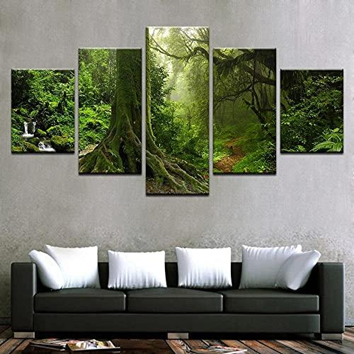Mural Moderno 5 Piezas Raíces De Árboles Viejos Verdes Art Imagen para Decoración del Hogar 5 Piezas Pinturas Moderna Estirada Y Enmarcado Arte Aceite