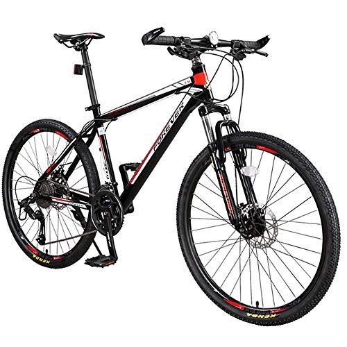Mountain Bike da 26 Pollici Hardtail 27 velocità per Mountain Bike per Adulti Bici ad Alto Tenore di Carbonio in Acciaio Full Frame Telaio Biciclette con Doppio Freno a Disco Mountain Bike,Rosso