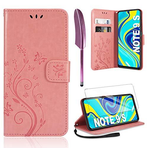 AROYI Lederhülle Kompatibel mit Xiaomi Redmi Note 9S/Note 9 Pro/Note 9 Pro Max Hülle & Schutzfolie, Flip Wallet Handyhülle PU Leder Tasche Hülle Kartensteckplätzen Schutzhülle Rosa
