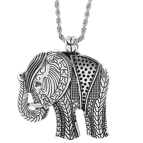 Collares colgantes de elefante de Color plateado antiguo tibetano africano de estilo vintage, joyería para hombres y mujeres, regalo para niñas y mujeres