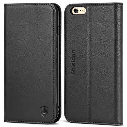 SHIELDON iPhone 6 Hülle 6s Case [Echtleder] Handyhülle als [Brieftasche] TPU Schutzhülle [Lebenslange Garantie] mit Kartenfächer Lederhülle Magnetverschluss Stander Kompatibel für iPhone 6/6s Schwarz