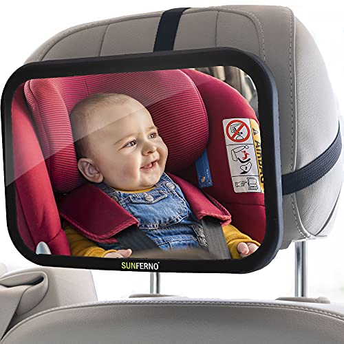Sunferno Baby Car Mirror | Shatterproof, No Assembly Required, Adjustable | Rear Facing Car Seat...