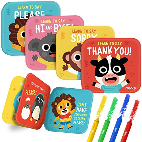 merka Bath Books Learning Set - Thank You Set - Bundle of 4 Books with 4 Washable Bath Crayons Markers - Learn to say Thank You, Please, Hi, Bye, Sorry - Floatable, Waterproof - Big and Colorful