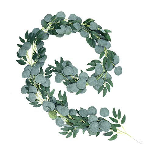 iFLOVE 6.5ft Artificial Eucalyptus Willow Garland Hanging Greenery Vines for Wedding Decorations Indoor Outdoor Backdrop Arch Wall Home Decor