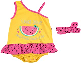 Lumex Watermelon Front Print Romper with Elastic Headband Clothing Set for Girls