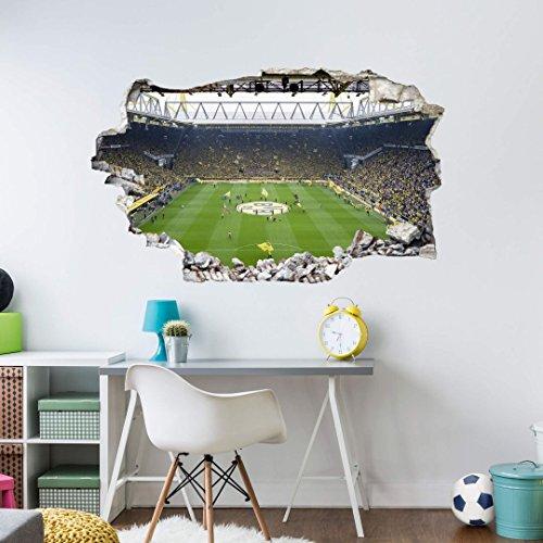 K&L Wall Art BVB Fanartikel Fußball Wandtattoo BVB Fussball Tapete 3D Klebebilder für die Wand Signal Iduna Park 70x50 cm