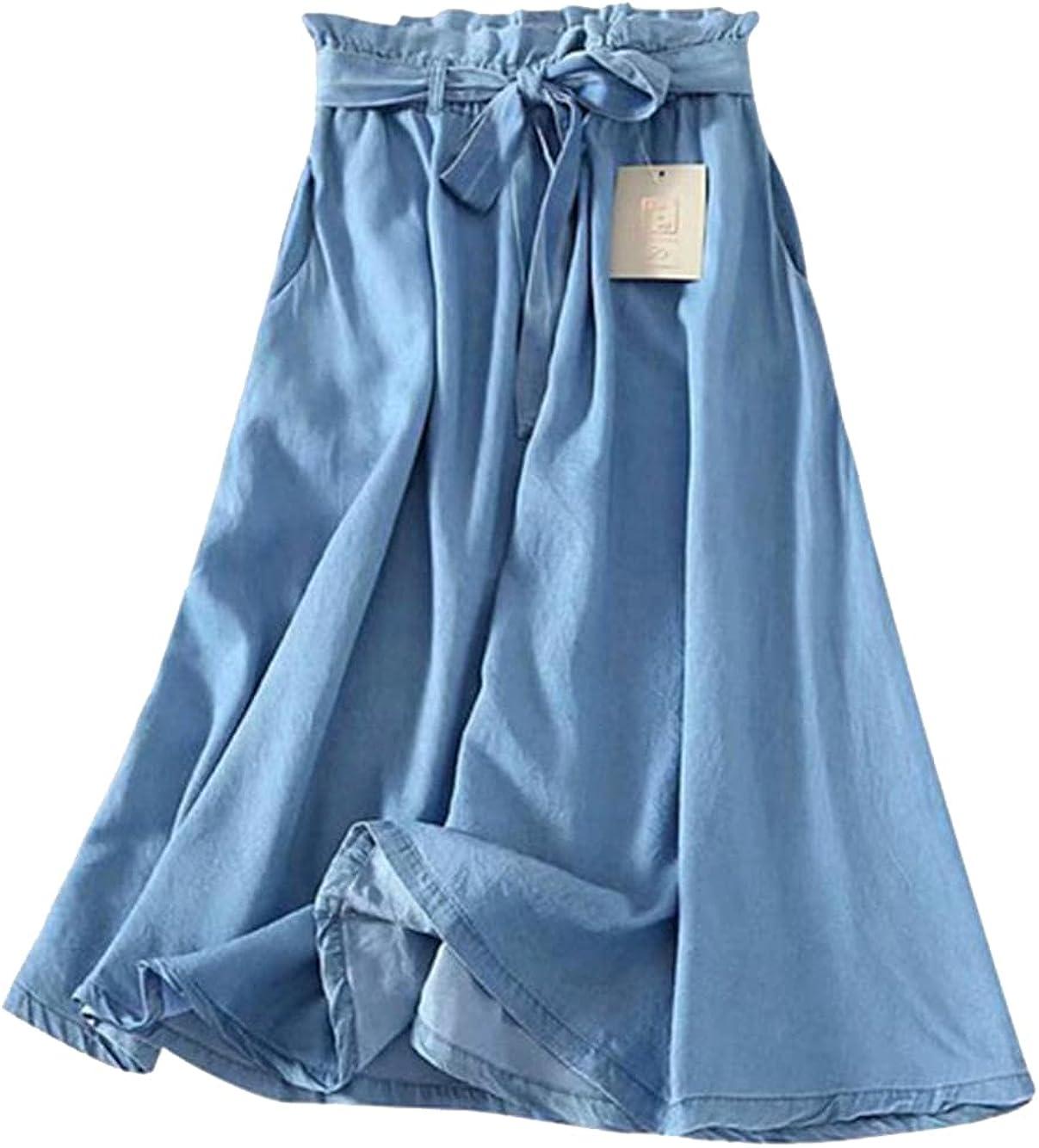 CHIC&TNK Summer Women Tencel Blue Skirt Casual Ruffle Waist Waistband Bowknot Thin Jeans Skirts Denim A-Line Long Saias S-XL