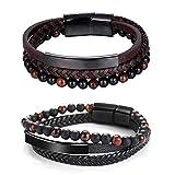 crintiff - Deux Bracelets Cuir Homme reglable en Acier Inoxydable magnétique avec Emballage Cadeau. Couleur Noir et Marron