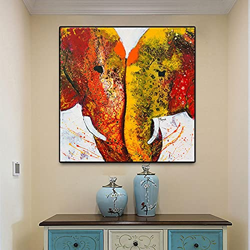 Zen Red Elefanti Dipinti Wall Art Canvas Printed Abstract Hindu Poster Stampe Soggiorno Camera da...