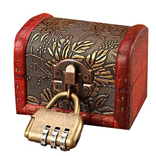 Maleta vintage, estilo europeo Con diseño de cerradura Esquina de metal Abeto chino, aleación Fotografía Caja de almacenamiento de joyas de anillo Caja de regalo creativa, 3 estilos, 5 patrones GGYMEI
