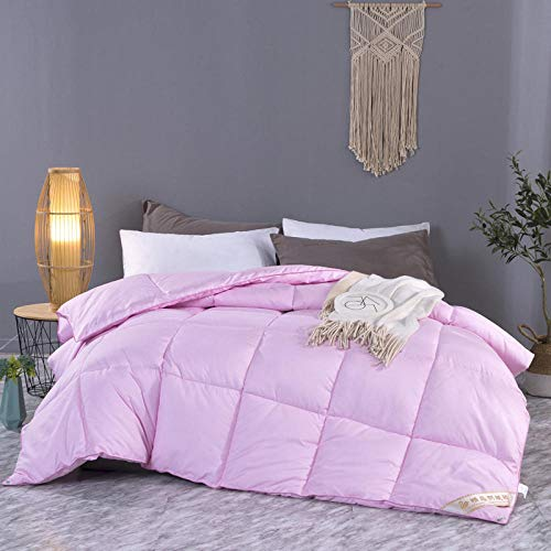 King Size Duvets 4.5 Tog White Goose Feather and Down Duvet 100% Cotton Shell Four-Season Goose Down-Classic -Anti-allergy-Cooling-Duvet Quilt-Pink_200x230cm-3000g