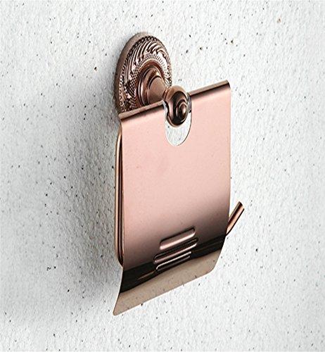 Sucastle® 17*10*8(cm) cuivre Porte Rouleau Papier Toilette Acier Inoxydable Métal Chromé Miroir Poli Dérouleur Papier Accessoirs WC,Déco Murale WC, Distributeur Papier WC-Accessoire Toilettes Salles de Bains