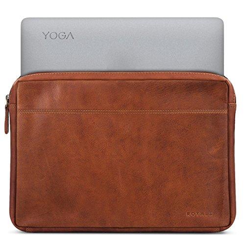 ROYALZ Tasche für Lenovo Yoga 920 Ledertasche (auch für Yoga 910, Yoga 900s & Yoga 900 geeignet) Lederhülle Hülle Schutztasche Schutzhülle Cover Sleeve Vintage Leder, Farbe:Cognac Braun