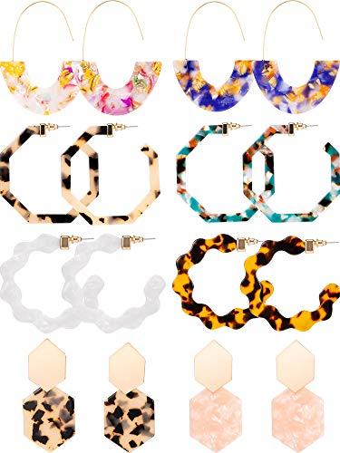 8 Pairs Mottled Acrylic Hoop Earrings Resin Statement Drop Dangle Earrings Polygonal Bohemian Fashion Jewelry Earrings for Women Girls (Leopard-Print Polygonal Style)