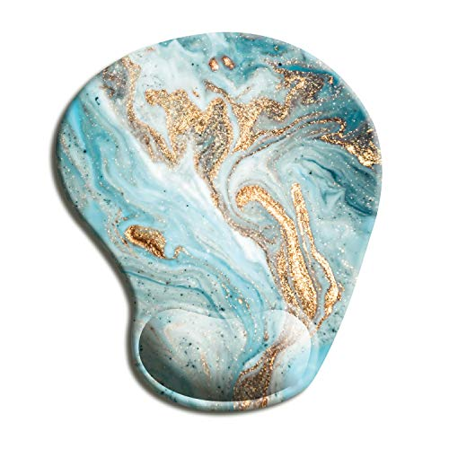 Dooke Ergonomic Mouse Pad with Wrist Support, Cute Mouse Pads with Non-Slip PU Base for Home Office Working Studying Easy Typing & Pain Relief Teal Marbling