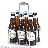 Flaschenträger, flaschenkörbe 6 Flaschen,Verchromtes Metall Flaschenkorb, 22 x 15 x 29 cm, Flaschenhaltermit haltegriff für Wein / Bierflaschen ,silber - S