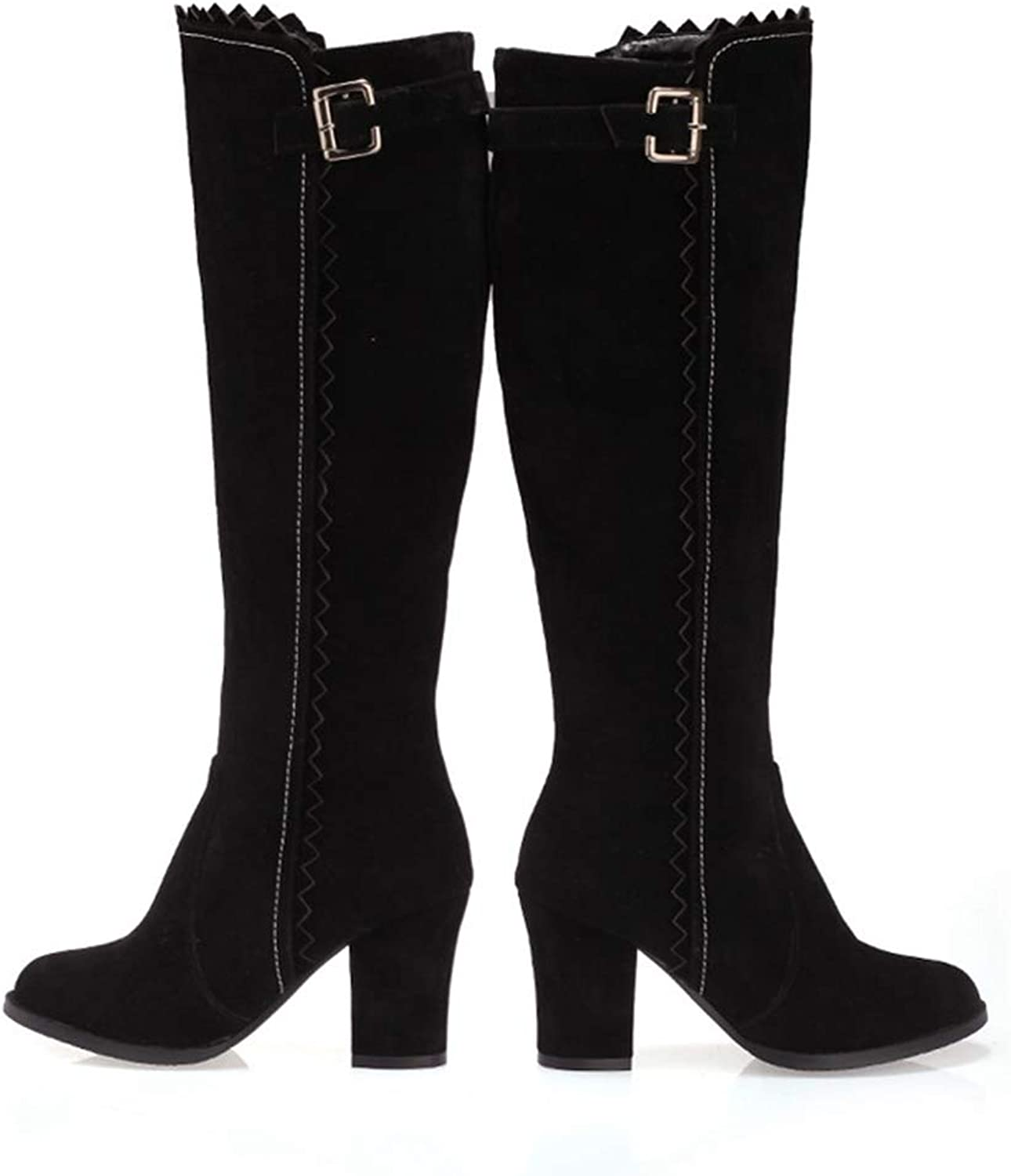Hoxekle Winter Boots Buckle Zipper shoes Women Boots Fashion Square Heel Round Toe Boot