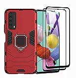 GOGME Hülle für Huawei P smart 2021 + 2 Panzerglas, Handyhülle mit 360 Grad Finger-Halter Kickstand für Magnetische KFZ-Halterung, Silica TPU + Harter PC Hybrid Schutzhülle Cover.Rot