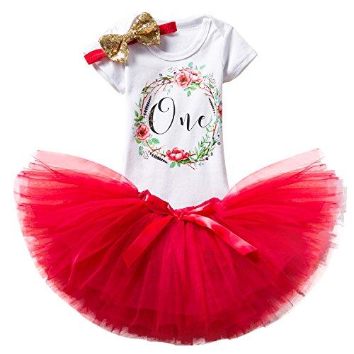NNJXD Mädchen Newborn Crown Tutu 1. Geburtstag 3 Stück Blume Outfits Strampler + Rock + Stirnband Größe 1 Jahre Rot