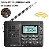 GBBG Full Band-Radio Bluetooth FM AM SW beweglichen Taschen-Radios MP3-Digital Rec Recorder Mikro-Sd TF Karte Sleep Timer Geschenk für ältere Menschen,Schwarz