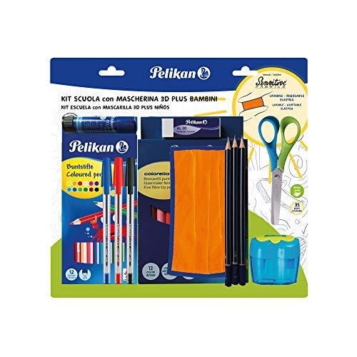 Pelikan Back to School Schreibwaren-Set – Stifte, Schere, Gummi, Kleber, farbige Buntstifte, HB-Bleistifte, Spitzer – Sparpack
