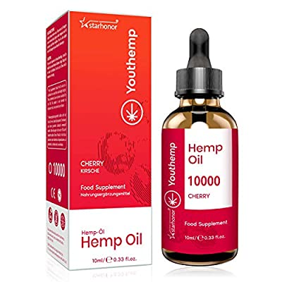 Hemp Seed Oil (Cherry) with 2020 New Formula, High Strength, Vegan Friendly, Natural Source of Omega 3, 6, and 9 (10000mg/10ml)