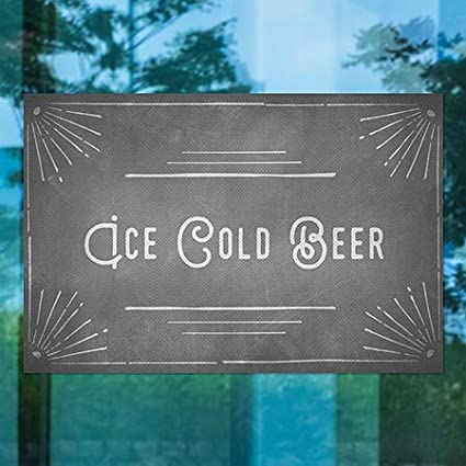 5-Pack CGSignLab Chalk Corner Perforated Window Decal Ice Cold Beer 30x20
