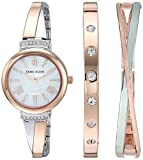 Anne Klein Women's AK/2245RTST Swarovski Crystal Accented Rose Gold-Tone and Silver-Tone Bangle Watch and Bracelet Set