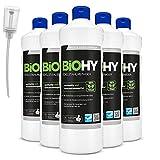 BiOHY Limpiador de acero inoxidable (6 botellas de 1 litro) + Dosificador | para el cuidado de acero inoxidable para un nuevo brillo | Protección contra manchas lubricantes (Edelstahlreiniger)