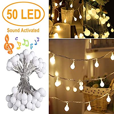 50 LED String Light with Remote Battery Powered Music-Sync Fairy String Lights for Bedroom Garden Christmas Tree Wedding Party (Warm White)