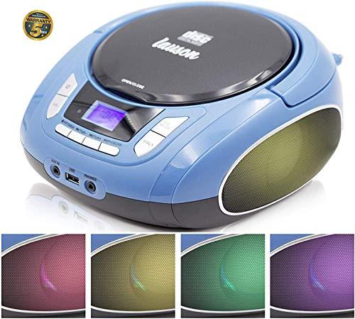 Lauson NXT963 Draagbare CD-Speler met meerkleurige LED-Verlichting Geïntegreerde Luidsprekers | Boombox Digitale FM-radio en LCD-Scherm | USB-lezer met MP3-Muziekspeler | CD-Speler voor Kinderen, met AUX-Out / Hoofdtelefoonuitgang (Blauw)