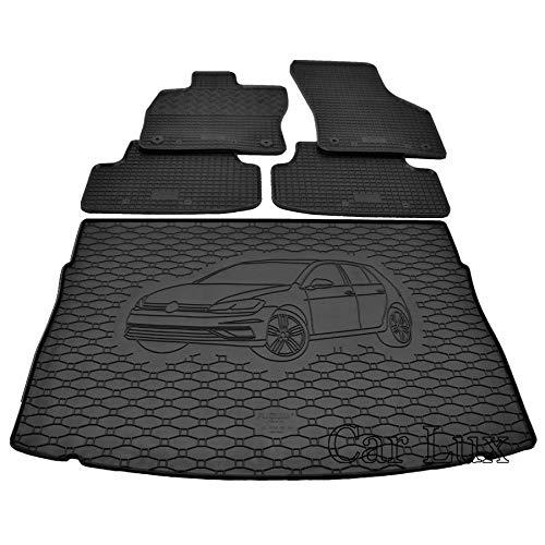 Car Lux DUO01136 - Alfombra protector maletero + Alfombras alfombrillas de goma a medida para Golf 7 VII Sportvan desde 2014-
