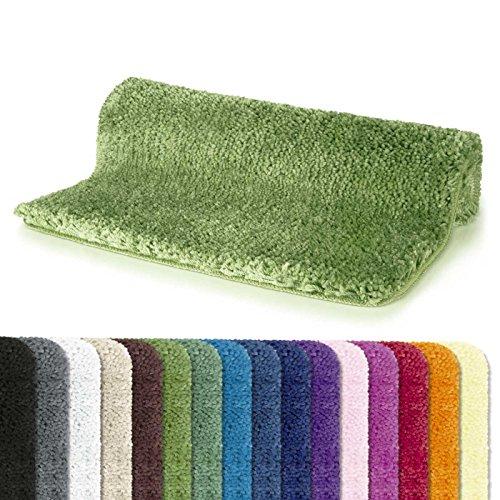 Spirella badmat badmat douchemat microvezel hoogpolig | pluizig | antislip | geschikt voor vloerverwarming | 70x120 cm | olijfgroen