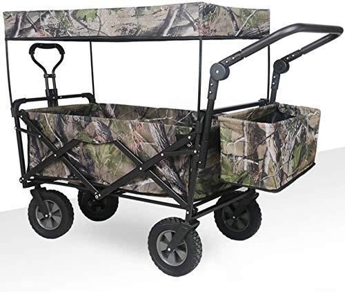 MissZZ Beach Wagon Folding with Canopy, All Terrain Outdoor Zusammenklappbarer Nutzwagen mit Rädern und Bremsen, tragbarer Handwagen zum Einkaufen Lebensmittel Rollwagen Tarnung A.