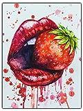 wandmotiv24 Leinwand-Bild Frauen Lippen, Größe 80x60cm,