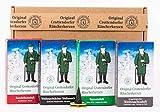 Crottendorfer Räucherkerzen - Weihnachtlicher Weihrauch, Erzgebirgischer Weihnachtsduft, Sandelholzduft,Tannenduft 4er Pack - in Geschenkverpackung mit Messingteller (4 x 24 Stück)