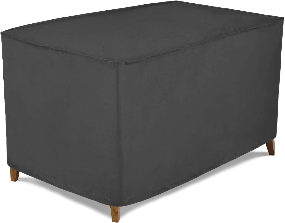 Patio Watcher Small Outdoor Ottoman Cover, Durable and Waterproof Ottoman Cover, Grey