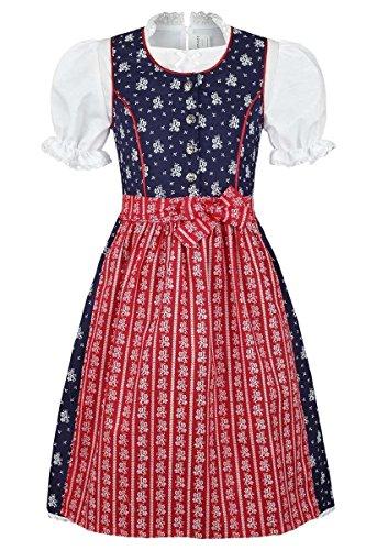 COALA Mädchen Kinderdirndl geblümt blau rot mit Bluse, blau/rot, 86/92