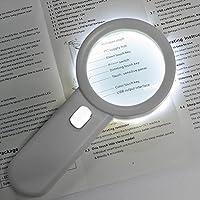 LEDライトルーペ 老眼 ジャンボルーペ・読書用拡大鏡 拡大倍数10X 直径:75mm 10個LED  [手持ちルーペ 虫眼鏡 虫めがね 天眼鏡] 虫めがね 拡大鏡 ルーペ(プラスチック、ガラス、ホワイト、単形3乾電池)
