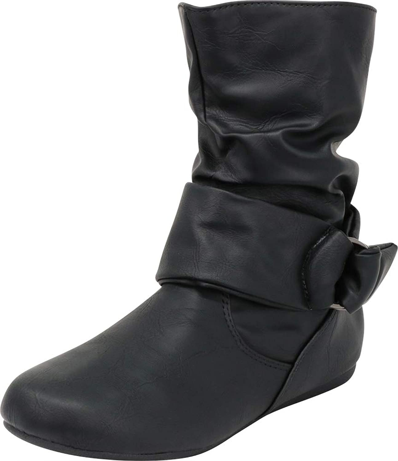 Cambridge Select Women's Round Toe Soft Slouch Wraparound Strap Flat Ankle Boot
