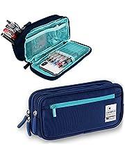 ペンケース 筆箱 大容量 筆ポーチ 帆布 - Akura - シンプル 多機能 學生用 社會人用 文房具 ダブルジッパー 內蔵ポケット付き