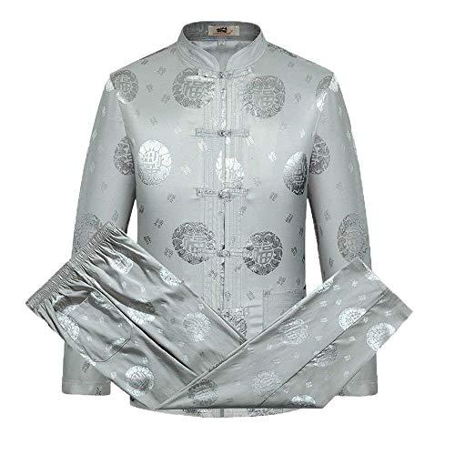 Männer Tang Anzug, Chinese Traditionelle Kleidung China Antike Kostüm Kampfkunst Tang Anzug Kung Fu Long Sleeve Jacket Anzüge Hemd Outfit Uniform Cloth,Grau,XXL