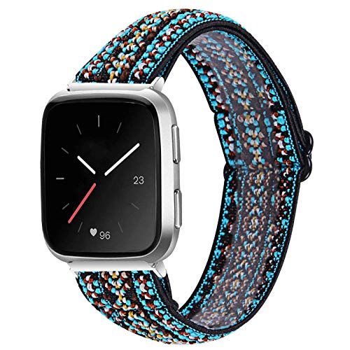 MEFEO Elastic Bands Compatible with Fitbit Versa 2/ Fitbit Versa/Versa Lite, for Women Girls Soft Stretch Strap Wristband Bracelet Compatible for Fitbit Versa/Versa 2/Versa Lite/SE (Embroidery Blue)
